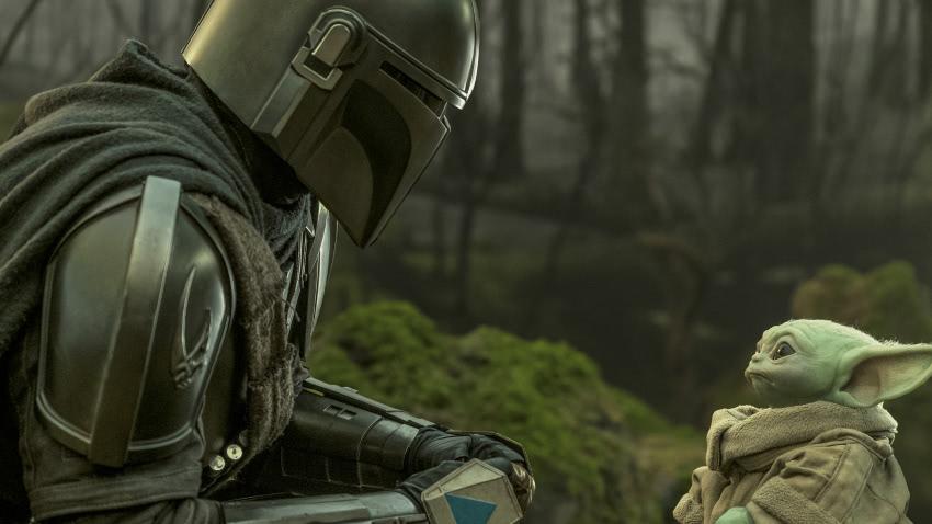 Mando und Grogu in einem Szenenbild aus The Mandalorian Staffel 2