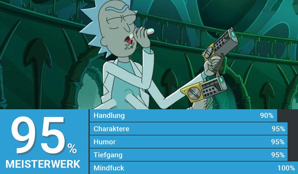 Rick hat fünf Arme und trinkt aus einem Reagenzglas