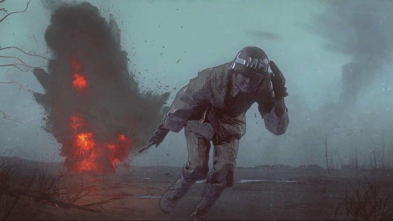 Szenenbild für Kritik Der Befreier von Netflix zeigt einen Soldaten vor einer Explosion