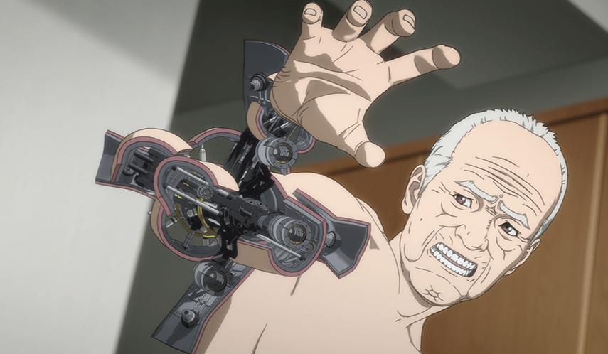 Ichirō Inuyashikis (Fumiyo Kohinata) Arm hat sich in eine Kanone umgewandelt