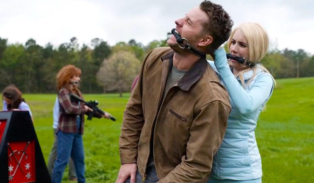Emma Roberts gefesselt in einem Szenenbild von The Hunt