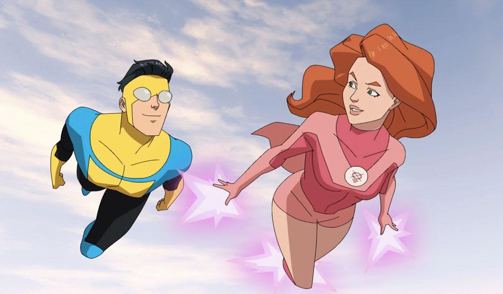 Invincible (Steven Yeun) und Atom Eve (Gillian Jacobs) fliegen durch die Luft.
