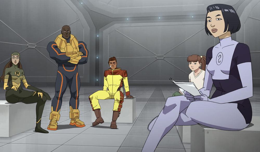 Eine Superhelden-Team sitzt in einem Raum.