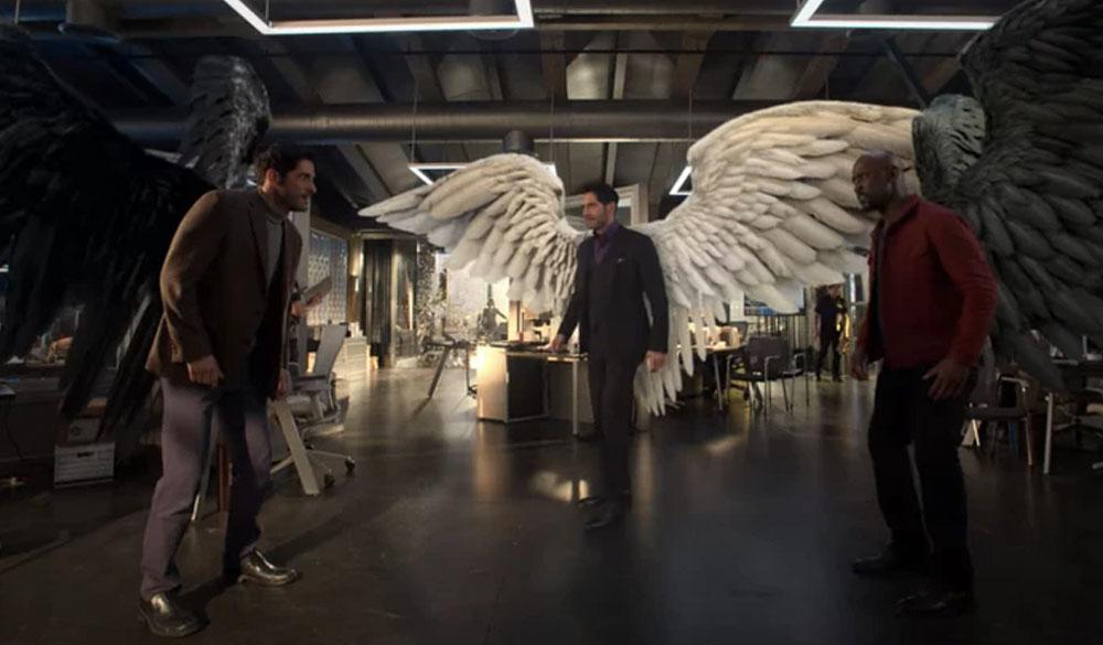 Lucifer (Tom Ellis), Amenadiel (D.B. Woodside) und Michael mit Engelsflügeln