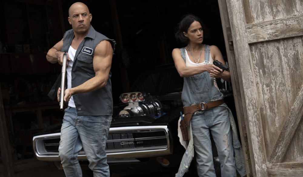 """Vin Diesel als Dominic """"Dom"""" Toretto und Michelle Rodríguez als Leticia """"Letty"""" Ortiz in Fast & Furious 9"""