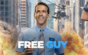 Guy (Ryan Reynold) vor einem explodierenden Hintergrund
